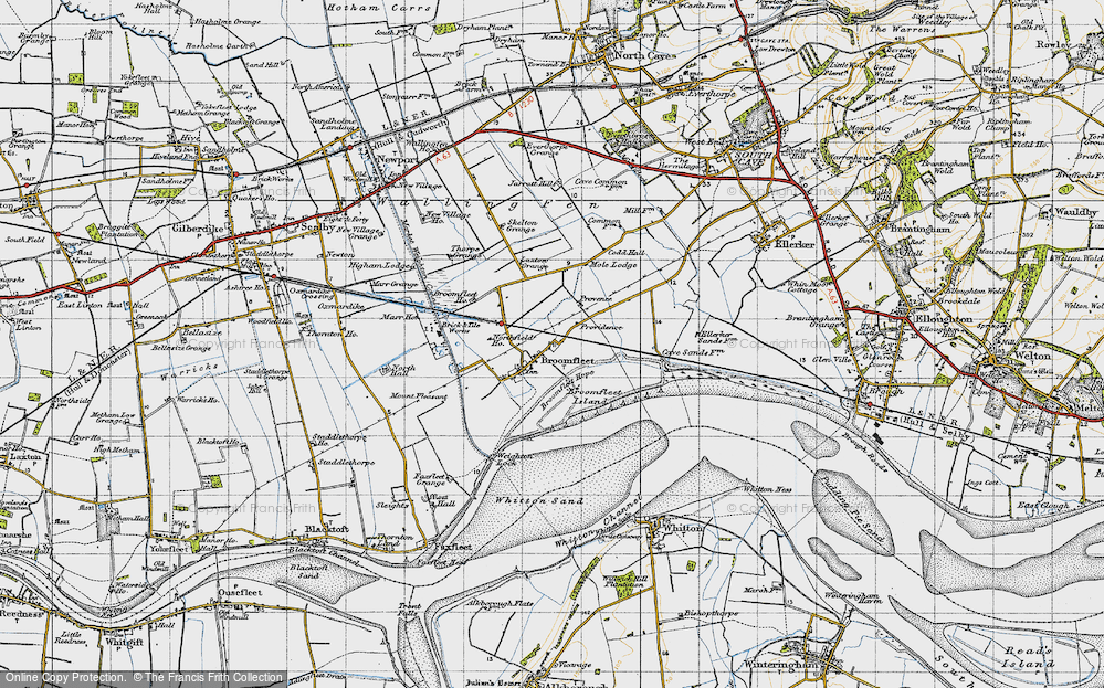 Old Map of Historic Map covering Laxton Grange in 1947