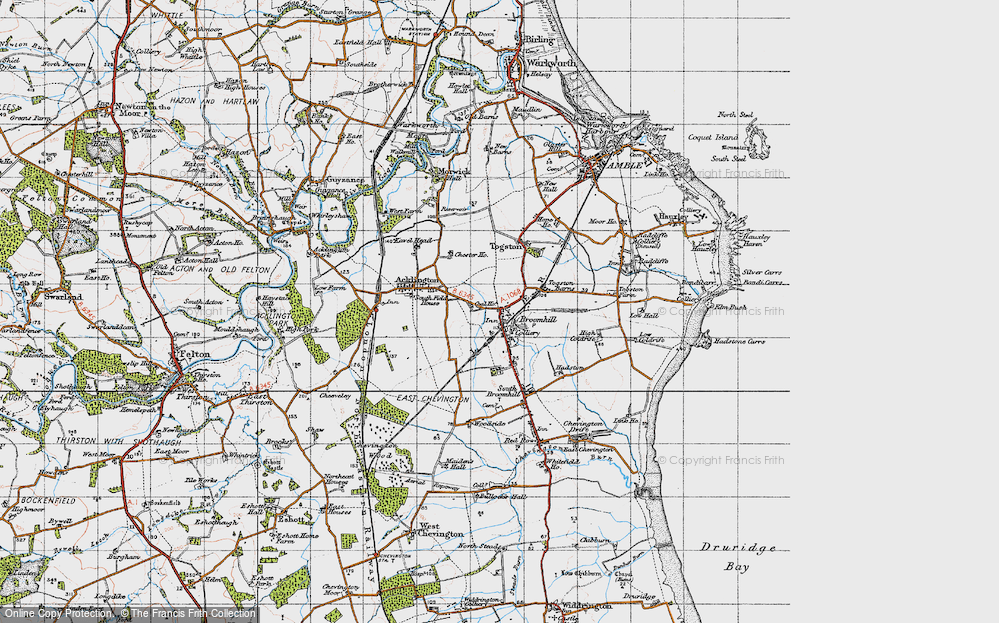 Old Map of Historic Map covering Togston Barns in 1947