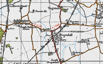 Old map of Togston Barns in 1947
