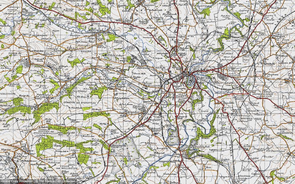 Old Map of Historic Map covering Aldin Grange in 1947
