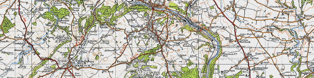 Old map of Broseley in 1947