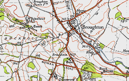 Old map of Broughton in 1940