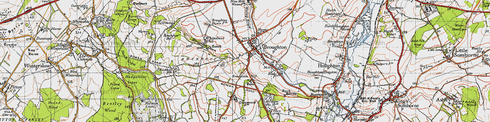 Old map of Whiteshoot Hill in 1940