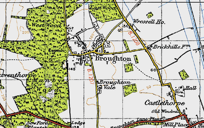Old map of Broughton in 1947