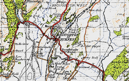 Old map of Broughton in Furness in 1947