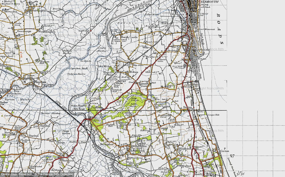 Old Map of Historic Map covering Ashby Warren in 1946