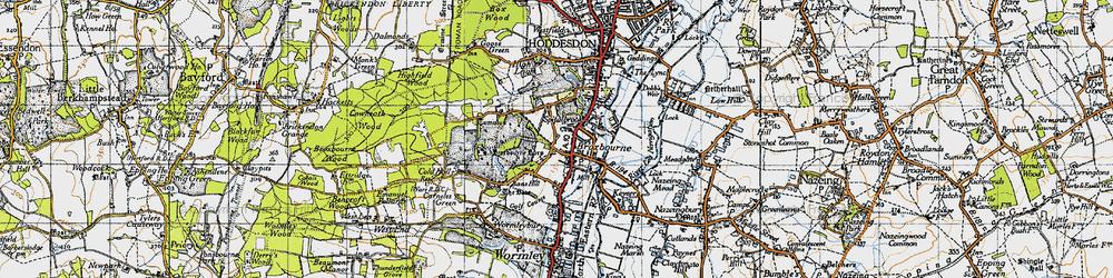 Old map of Broxbourne in 1946
