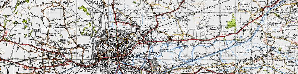 Old map of Bruche in 1947