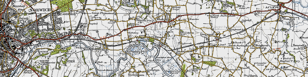Old map of Brundall in 1945