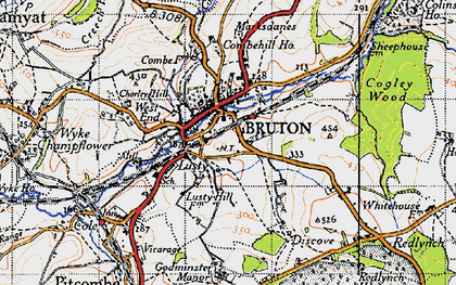 Old map of Bruton in 1946