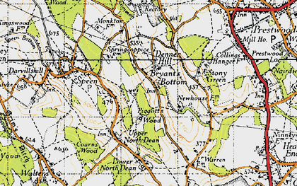 Old map of Bryant's Bottom in 1947