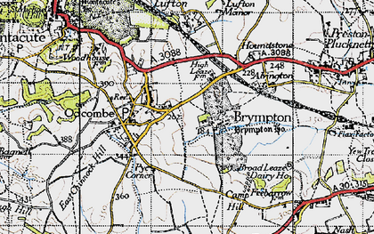 Old map of Brympton D'Evercy in 1945