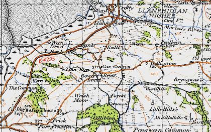 Old map of Tircoch in 1947
