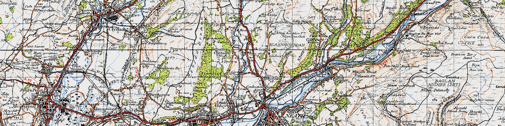 Old map of Bryncoch in 1947