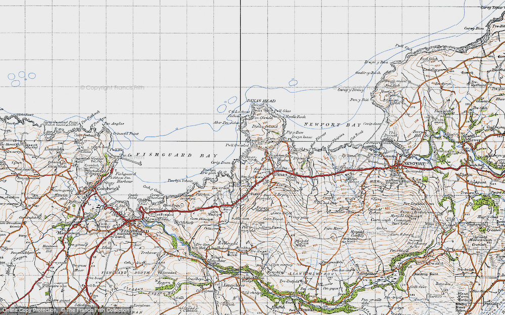 Old Map of Historic Map covering Aber Pensidam in 1947