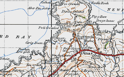 Old map of Aber Pensidan in 1947