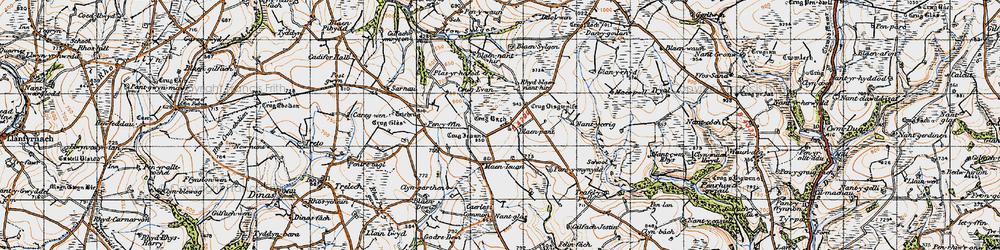 Old map of Afon Fawr in 1946