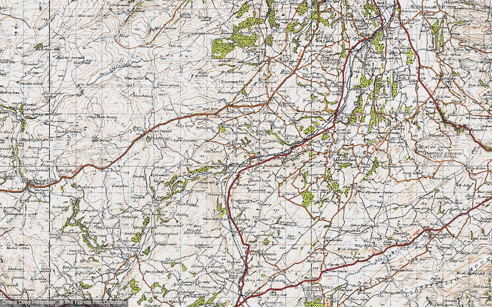 Old Map of Historic Map covering Allt-y-Celyn in 1947