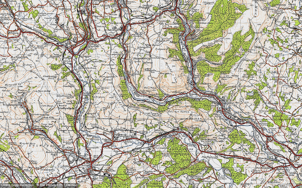 Old Map of Historic Map covering Ton-eithin in 1947