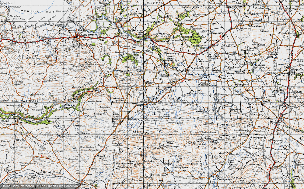 Old Map of Historic Map covering Afon Bryn berian in 1947
