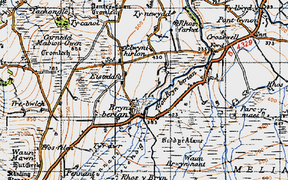 Old map of Afon Bryn berian in 1947