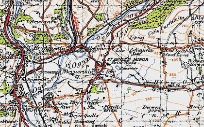 Old map of Bryncethin in 1947