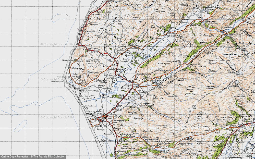 Old Map of Historic Map covering Afon Dysynni in 1947
