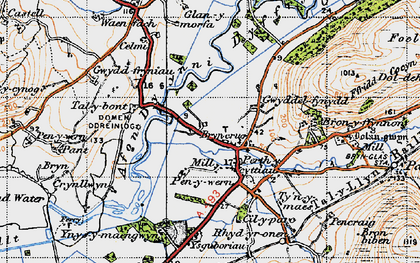 Old map of Afon Dysynni in 1947