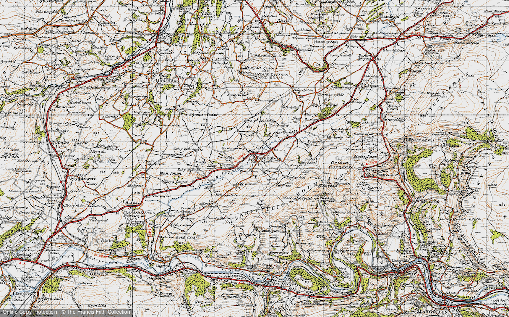 Old Map of Historic Map covering Afon Morwynion in 1947