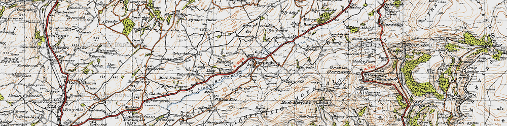 Old map of Afon Morwynion in 1947