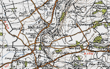 Old map of Bryniau in 1947