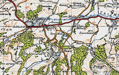 Old map of Brynllywarch in 1947