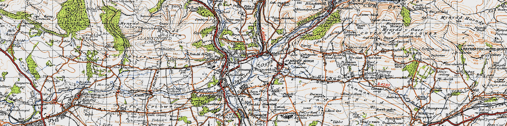 Old map of Brynmenyn in 1947