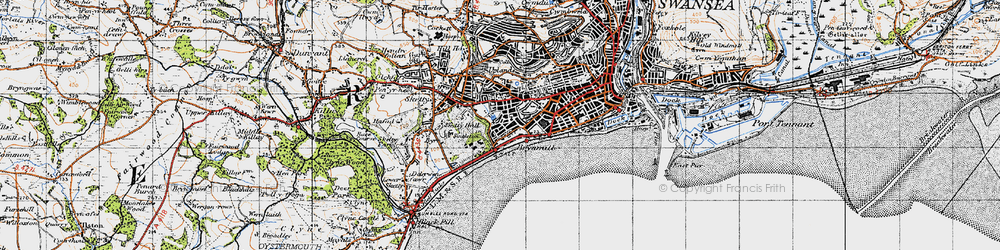 Old map of Brynmill in 1947