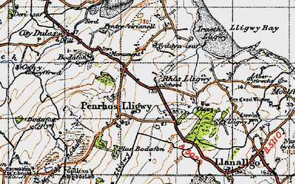 Old map of Brynrefail in 1947