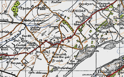 Old map of Ysgubor Wen in 1947