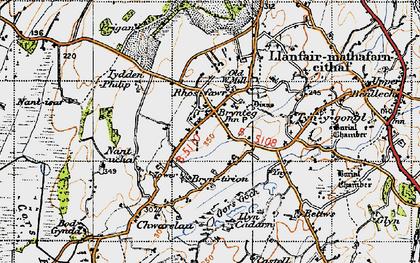 Old map of Brynteg in 1947