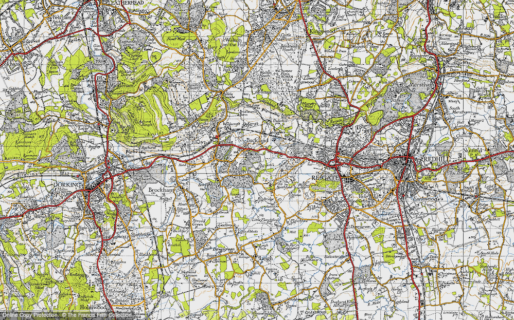 Old Map of Historic Map covering Wonham Manor in 1940