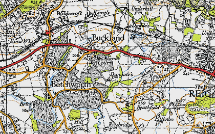 Old map of Buckland in 1940