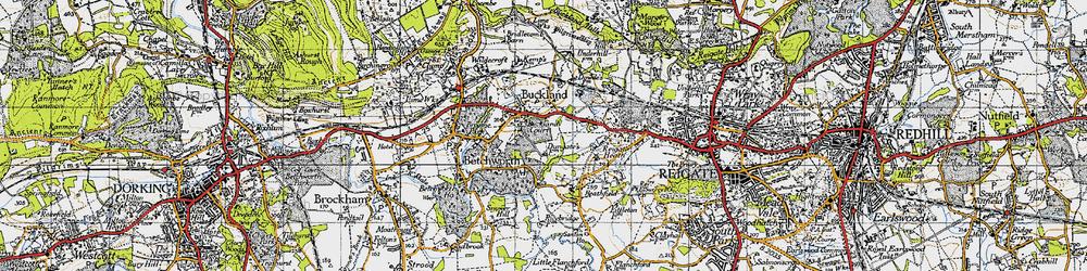 Old map of Wonham Manor in 1940
