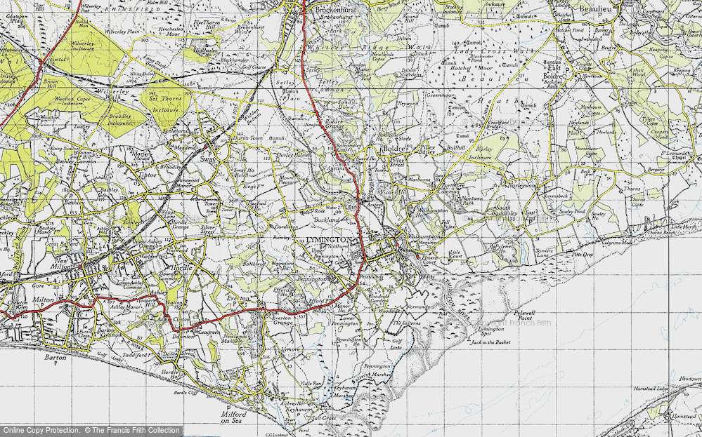 Old Map of Historic Map covering Yaldhurst in 1945