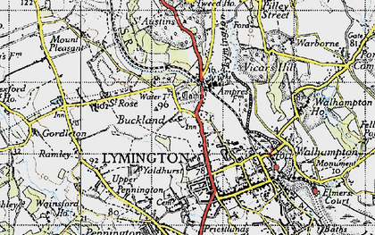 Old map of Yaldhurst in 1945