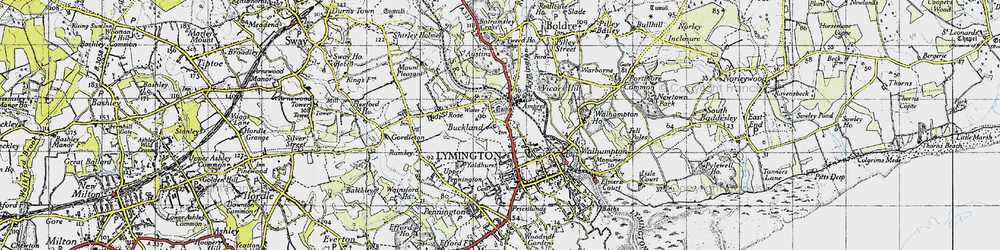 Old map of Yaldhurst in 1945