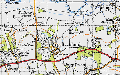 Old map of Buckland in 1947