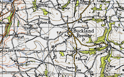Old map of River Duntz in 1946