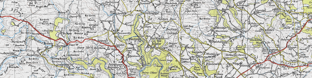 Old map of Buckland in the Moor in 1946