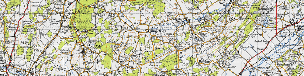 Old map of Bucklebury in 1945