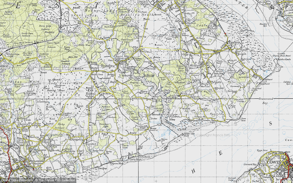 Old Map of Historic Map covering Ashen Wood in 1945