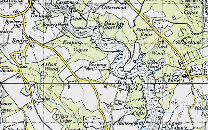 Old map of Ashen Wood in 1945
