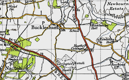 Old map of Bucklesham in 1946